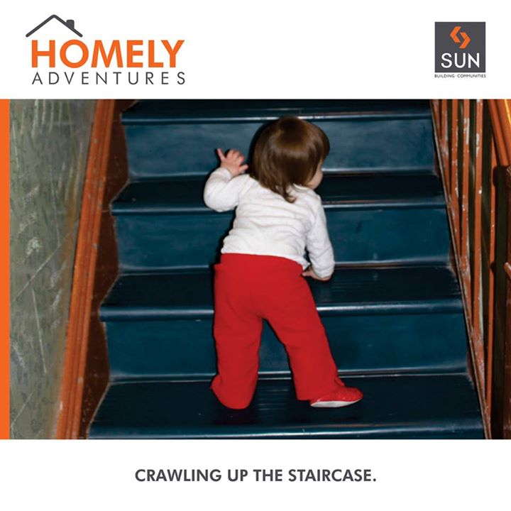 #HomelyAdventures: The most adorable moment of tiny feet climbing stairs can be witnessed only at home.