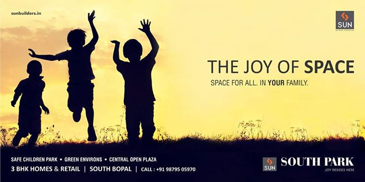 Experience the beauty of enormous space for you & your family only at Sun South Park. Visit: http://sunbuilders.in/Sun-South-Park/