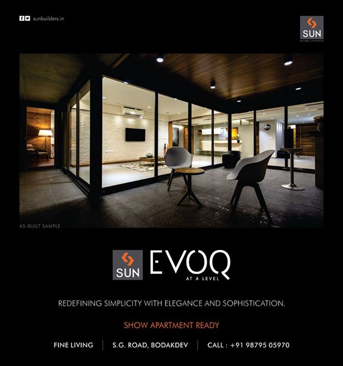 Indulge in the finest of elegance at Sun Evoq. Show apartment ready! Visit www.sunbuilders.in/Sun-Evoq now!