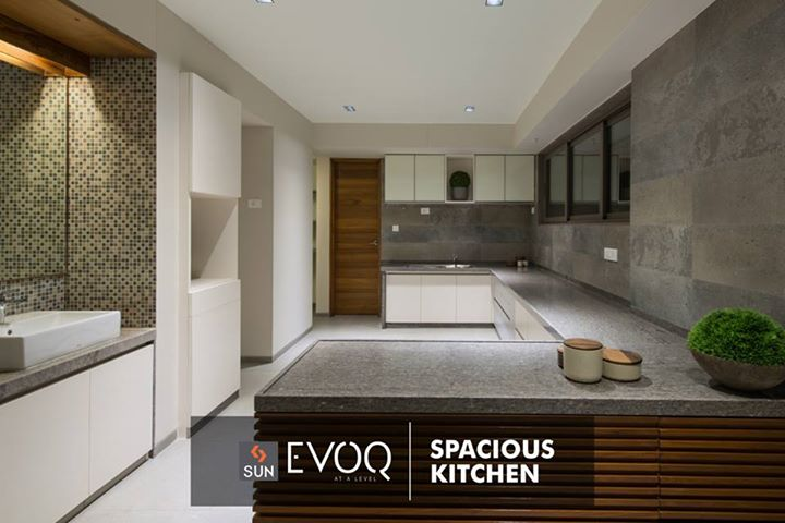 #SUNEVOQ - Our ultra-spacious abode offers you a kitchen designed with impeccable interiors.  Sample house ready!  Book your space at http://sunbuilders.in/Sun-Evoq/  #lifestyle #Kitchen #interiors #SunBuilders