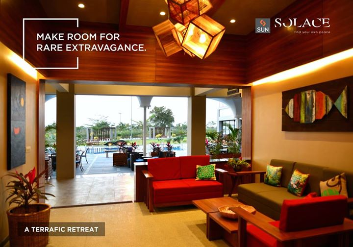 #SunSolace - The interiors are designed to match your rare taste, making an ultra-cosy corner for you to spend quality time peacefully.  Explore more: http://sunbuilders.in/sun-solace/   #WeekendGetaways #FamilyTime #Environment
