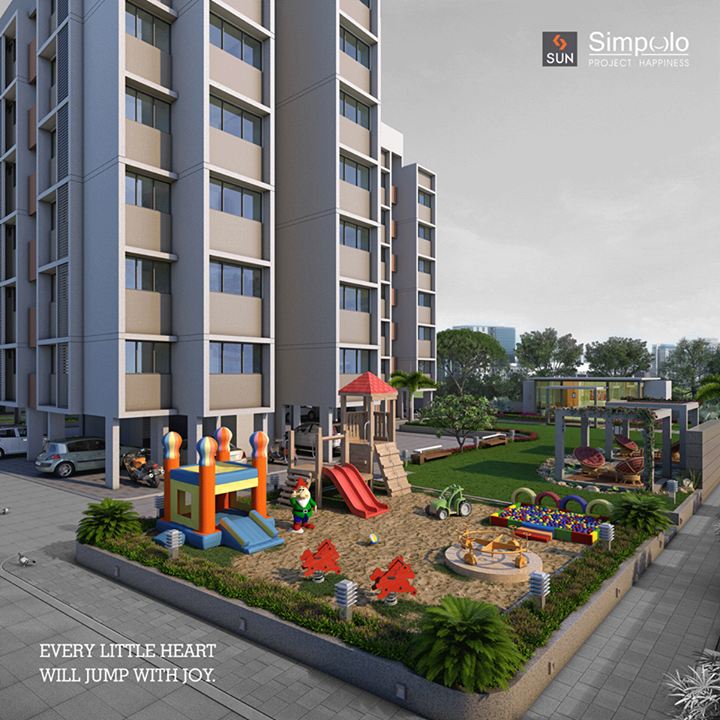 Let the kids play, learn and grow in a safe environment. Be ready to explore the colorful play area for your little ones, only at #SunSimpolo.   #Sunbuilders #realestate #happiness #AhmedabadHomes  Explore more at http://sunbuilders.in/Sun-Simpolo/