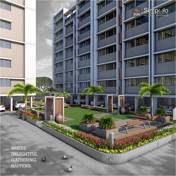 #SunSimpolo, our project happiness, aims to provide you all the joys of living. So, it offers you a well-manicured green campus, where you can make new relations.   #Sunbuilders #realestate #happiness #AhmedabadHomes.   Explore more at goo.gl/Bqia2E
