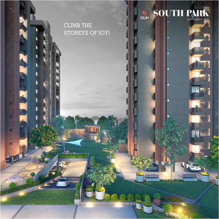 Delivering all kinds of joy, #SunSouthpark will surely let your lifestyle climb high, to new levels.   For more details, please visit, goo.gl/ikzYTf.  #Sunbuilders #realestate #ahmedabadhomes #happiness #joys