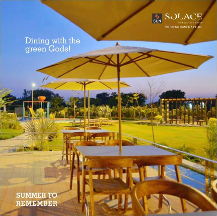 Good Food, Good People, Good Times this Summer! You will love the pleasant evenings at Sun Solace with a constant humdrum of fountain water.   Book your package by calling on 9879523125.  #SunBuilders #SunSolace #SummerToRemember #HelloSummer