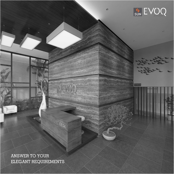 Designed with an emblematic building entrance with a waiting lounge, Sun Evoq gives you