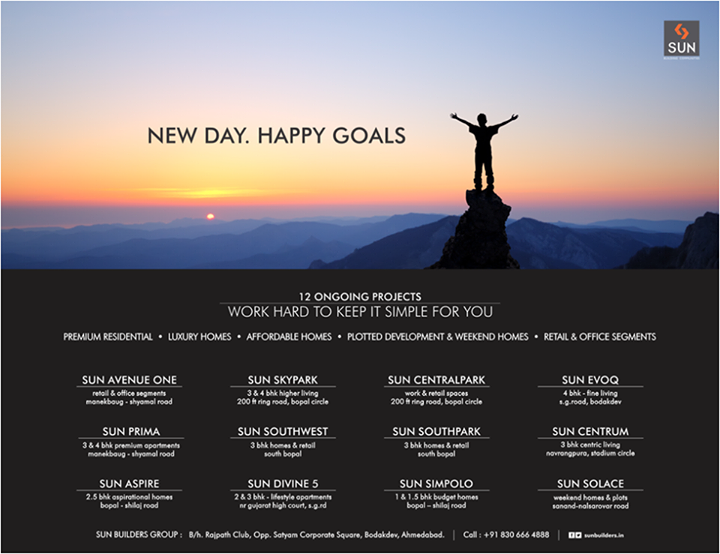 Each day, we wake up to a new goal, a new aspiration. And we commit ourselves to accomplish it. These are our current magnificent goals, our ultimate zenith and we're happily climbing to reach the pinnacle.   #SunBuilders #RealEstate #constructiongoals #realestategoals