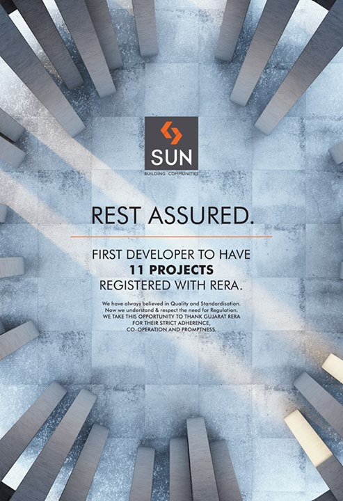 Sun Builders has always been at the forefront in delivering quality with transparency. Now with RERA legislation, our impeccable standards have helped us in becoming the first real estate developer to have it's 11 projects registered with RERA.  #SunBuilders #RERA #RealEstate #Residential #Commercial