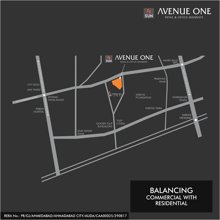 Sun Avenue One is located at Manekbaug which is equidistant to the posh Business and Residential hub of the city. Thus giving both its retail and office spaces a perfect business opportunity.   Find the perfect business location at: http://bit.ly/2tI4nDt #SunBuilders #Commercial #RealEstate #SunAvenue
