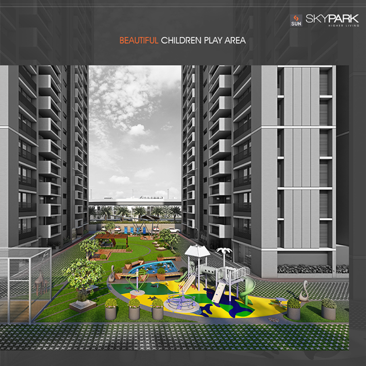 #Beautiful & #serene children play area to let your kids enjoy their #evenings & #childhood!  #SunSkyPark #SunBuilders #HappyHomes #Residential #HigherLiving