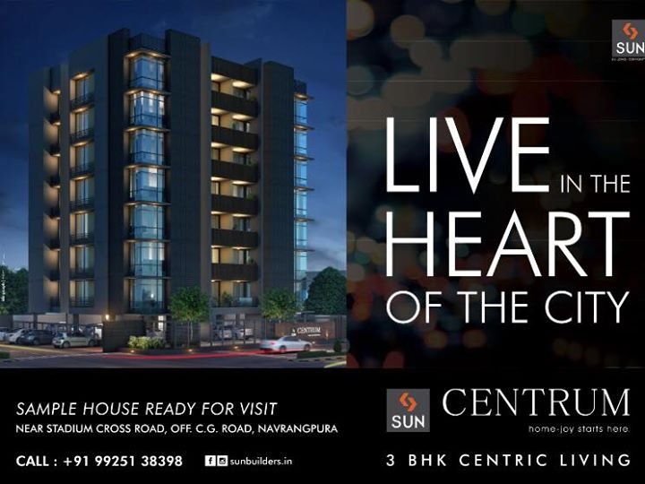 Reside in the heart of the city with the best facilities in your proximity! Visit us to glance though our #SampleHouse.  #SunCentrum #SunBuilders #RealEstate #Ahmedabad #Navrangpura