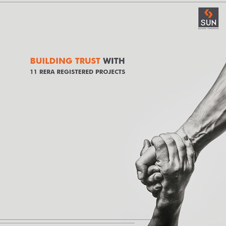 First developer to have 11 projects registered with #RERA!  #Trust #SunBuildersGroup #RealEstate #SunBuilders #Ahmedabad #Gujarat