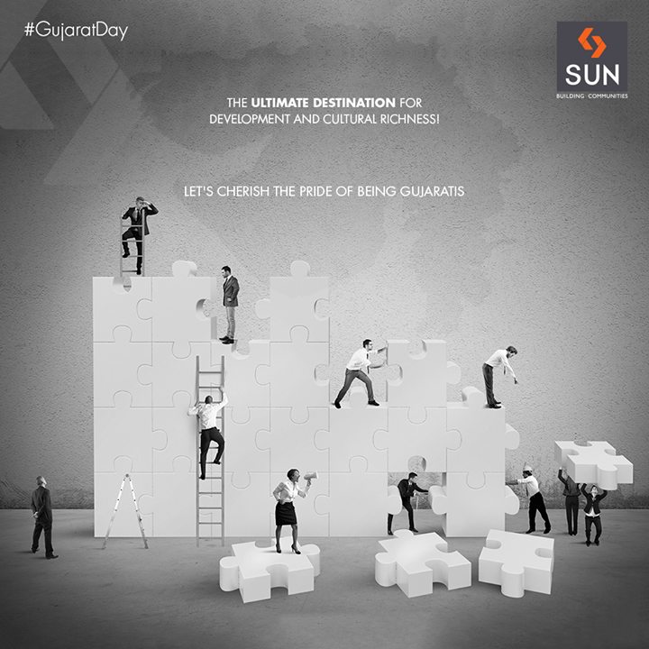 The ultimate destination for development and cultural richness! Let's cherish the pride of being Gujaratis.  #GujaratDay #JayJayGarviGujarat #Gujarat #SunBuildersGroup #RealEstate #SunBuilders #Ahmedabad