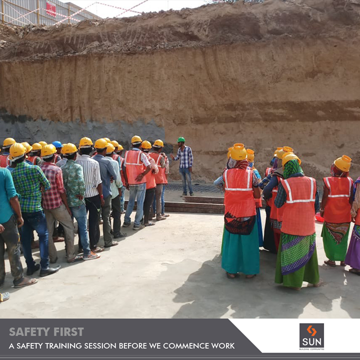 Every individual working at Sun Builders Group is important to us! Thus to ensure the safety of our onsite workers, a safety drill is organized to ensure smooth operations.  #SunBuildersGroup #RealEstate #SunBuilders #Ahmedabad #Gujarat