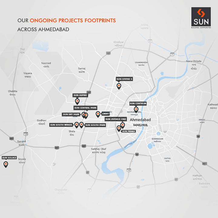 Expanding our horizons across the city, the footprint of our ongoing projects across the city of Ahmedabad!   #SunBuildersGroup #RealEstate #SunBuilders #Ahmedabad #Gujarat