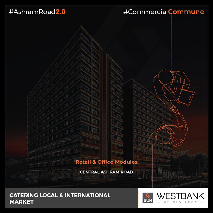 Retail & office modules that cater to the generation next entrepreneurs!  #SunBuilders #RealEstate #WestBank #SunWestBank #Ahmedabad #Gujarat #SunBuildersGroup #AshramRoad2point0 #commercialcommune #ComingSoon #NewProject