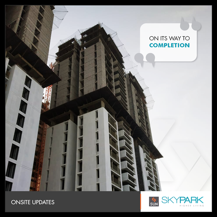 A new pulse of higher living, on its way to completion!   #OnsiteUpdates #SkyPark #SunSkyPark #SunBuildersGroup #RealEstate #SunBuilders #Ahmedabad #Gujarat