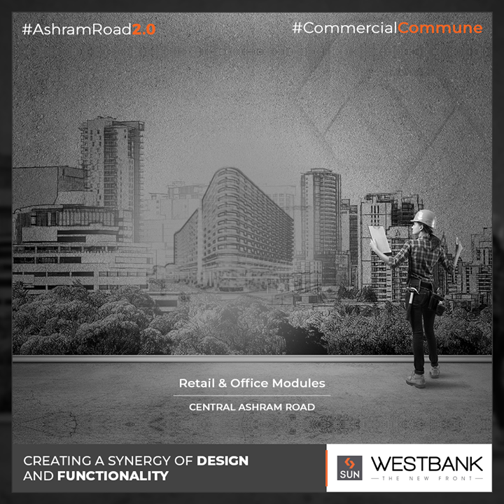 The perfect synergy of design & functionality!   #SunBuilders #RealEstate #WestBank #SunWestBank #Ahmedabad #Gujarat #SunBuildersGroup #AshramRoad2point0 #commercialcommune #ComingSoon #NewProject