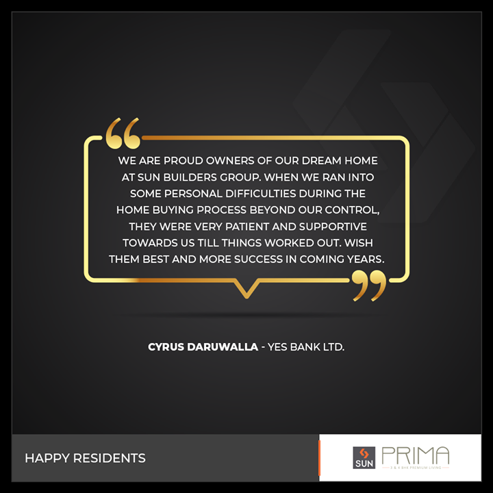 It's a great assurance when we hear back from our happy residents!  #SunBuildersGroup #SunBuilders #RealEstate #Ahmedabad #RealEstateGujarat #Gujarat
