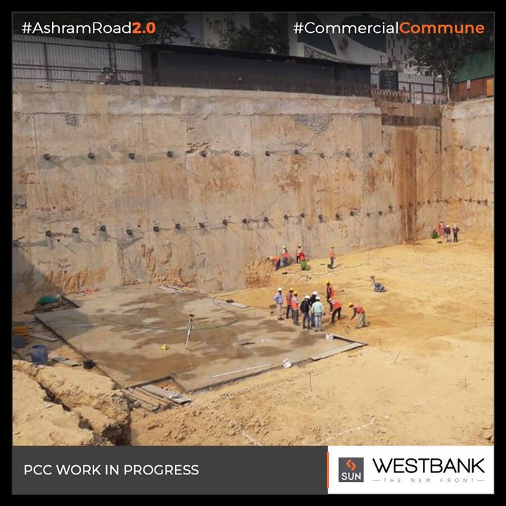 Onsite update at Westbank, PCC work in progress.  #SunBuilders #RealEstate #SunWestBank #Ahmedabad #Gujarat #SunBuildersGroup #AshramRoad2point0 #commercialcommune #ComingSoon #NewProject