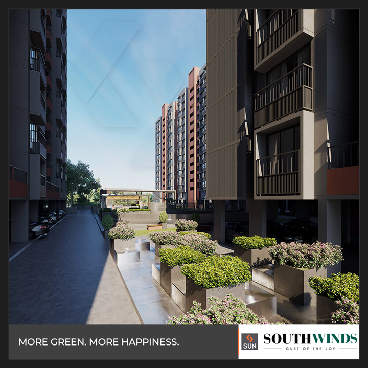 Indulge in living amidst more greens & more happiness!  #SouthWinds #ResidentialLiving #SunBuilders #RealEstate #Ahmedabad #RealEstateGujarat #Gujarat