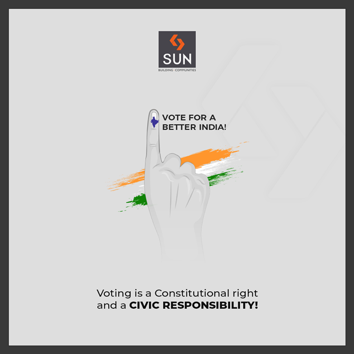 Voting is a Constitutional right and a civic responsibility!  #VoteIndia #GoVote #Election2019 #Vote #SunBuilders #RealEstate #Ahmedabad #RealEstateGujarat #Gujarat