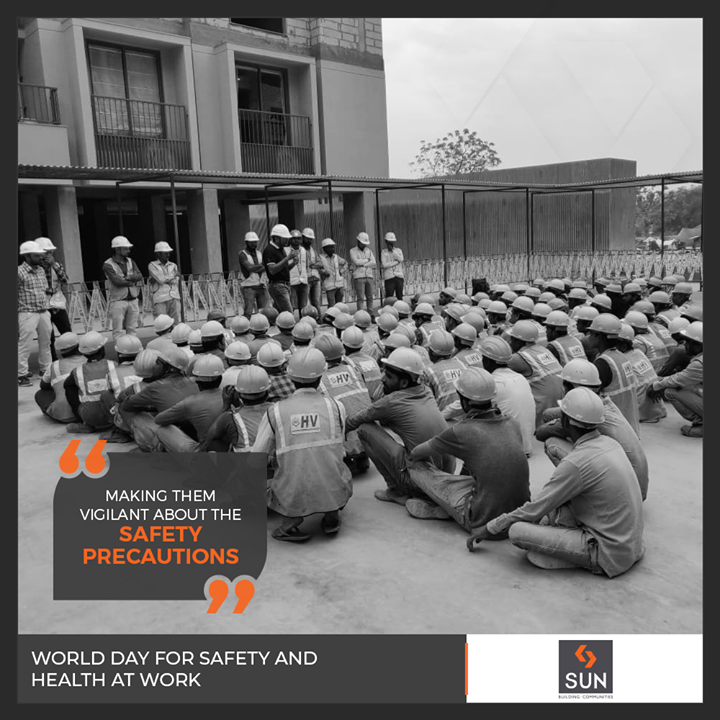 Safe equipment and safe procedures are an indispensable part of our processes at Sun Builders Group which ensure the safety of our workers!  #WorldDayForSafetyAndHealthAtWork #SunBuilders #RealEstate #Ahmedabad #RealEstateGujarat #Gujarat