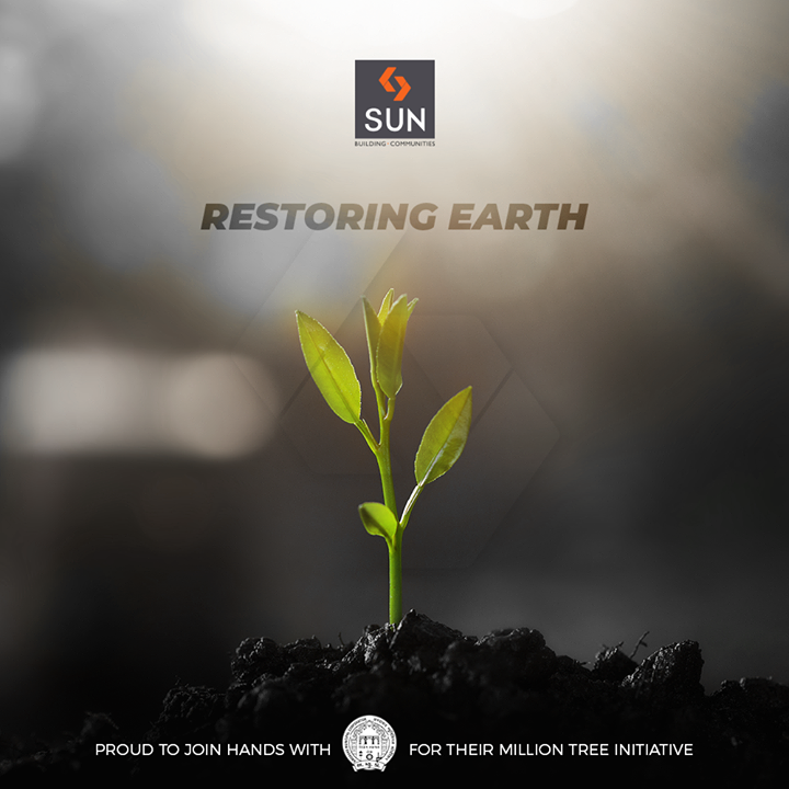 Caption: Doing our bit towards restoring Earth this #EnvironmentDay!   Privileged to join hands with the AMC-Amdavad Municipal Corporation towards #MissionMillionTrees!  #SunCares #SunBuilders #RealEstate #Ahmedabad #Gujarat