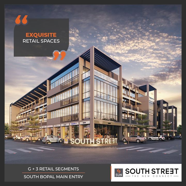 Versatile retail spaces with the essence of niche architecture & design!  #SunSouthStreet #newretailhub #southbopal #SunBuildersGroup #Ahmedabad #Gujarat