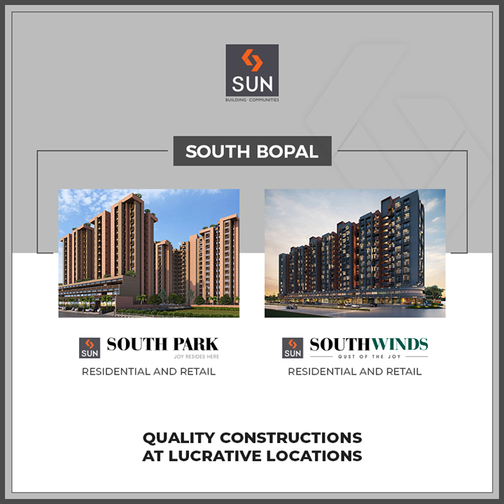 #QuantumOfSun   While designing projects, we keep in mind the importance of location.   #SunSouthPark & #SunSouthWinds are located at an established residential community at South Bopal that ensures easy connectivity & positive environs for family.  #SouthBopal #SunBuildersGroup #Ahmedabad #Gujarat