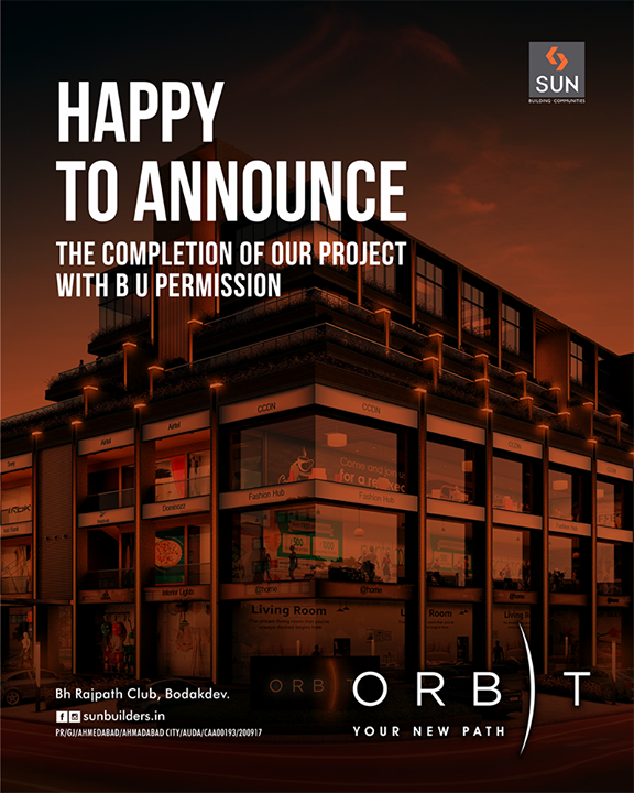 Orbit is now ready with Building Use permission! Come be a part of the thriving corporate community at a promising location of Bodakdev!  #SunOrbit #SunBuildersGroup #Ahmedabad #Gujarat #RealEstate