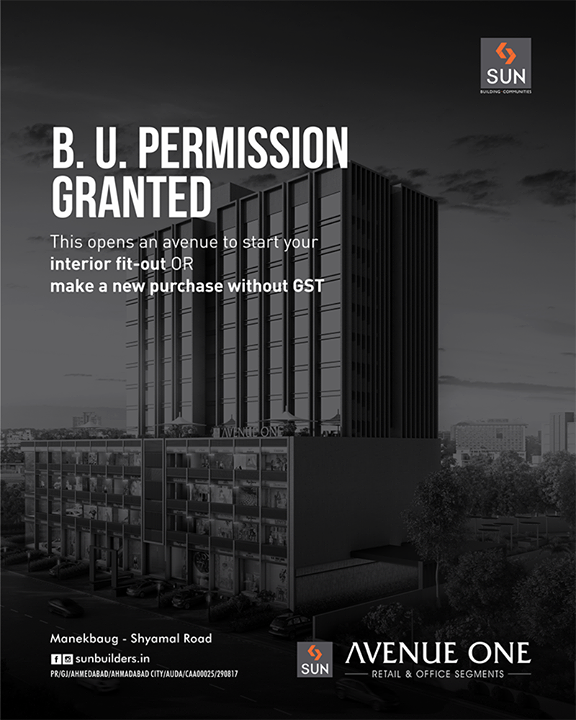 Awe-inspiring avenues with ready BU permission to make a new purchase of your office segments.  #SunBuildersGroup #Ahmedabad #Gujarat #RealEstate #SunAvenueOne