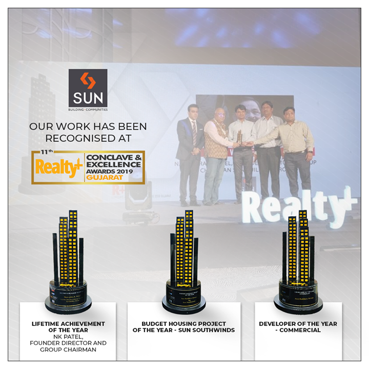 We at Sun Builders Group are humbled to be recognized for our relentless work.  #RealtyPlusAwards #Awards #Recognitions #SunBuildersGroup #Ahmedabad #Gujarat #RealEstate