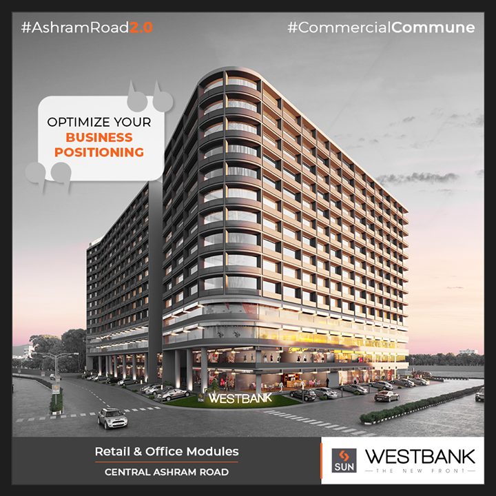 Westbank allows you to optimize your business positioning at the lucrative location of Central Ashram Road!  #SunBuilders #RealEstate #ProgressiveSpaces #Ahmedabad #Gujarat #SunWestBank #AshramRoad2point0