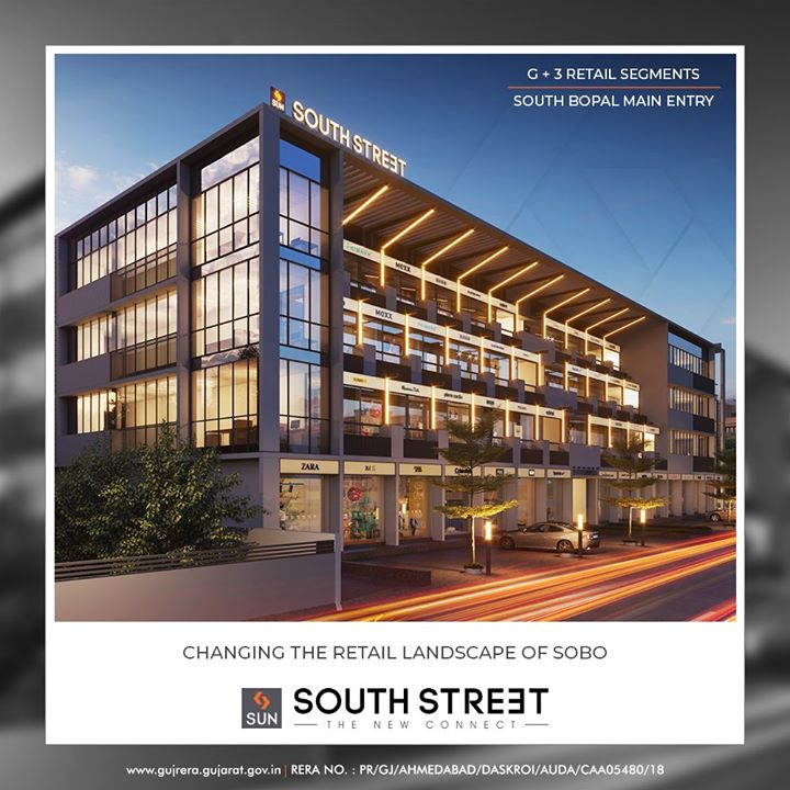 Sun South Street is the new connect of retail segments coming up at South Bopal!  #SunSouthStreet #SouthBopal #SunBuildersGroup #Ahmedabad #Gujarat