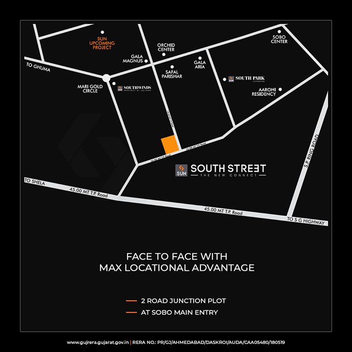 Experience the best locational advantage at #SoBo!  #SunSouthStreet #SunBuildersGroup #Ahmedabad #Gujarat #RealEstate #SunBuilderstreet