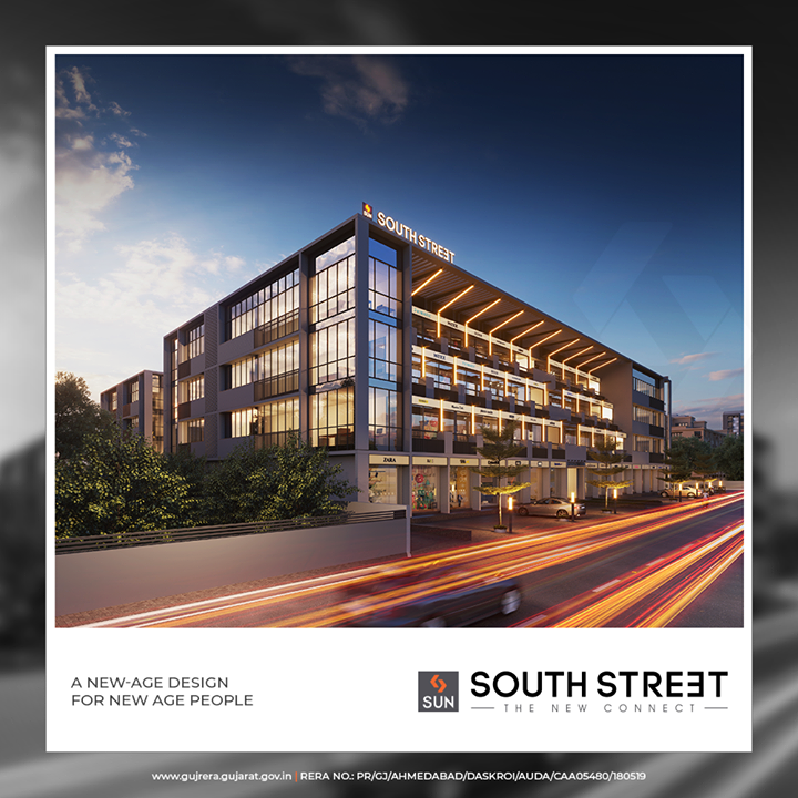 SOUTH STREET is designed for today's needs looking at the opportunity of the captive audience at SOBO  #SunSouthStreet #SunBuildersGroup #Ahmedabad #Gujarat #Residences #ResidentialSpaces