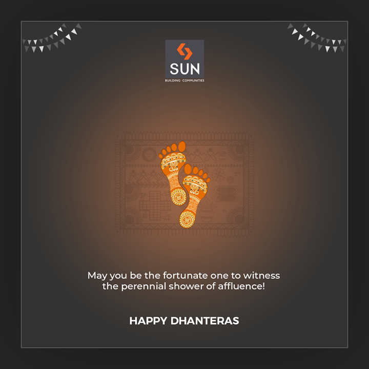May you be the fortunate one to witness the perennial shower of affluence!  #Dhanteras #Dhanteras2019 #ShubhDhanteras #IndianFestivals #DiwaliIsHere #Celebration #HappyDhanteras #FestiveSeason #Diwali2019 #SunBuildersGroup #Ahmedabad #Gujarat