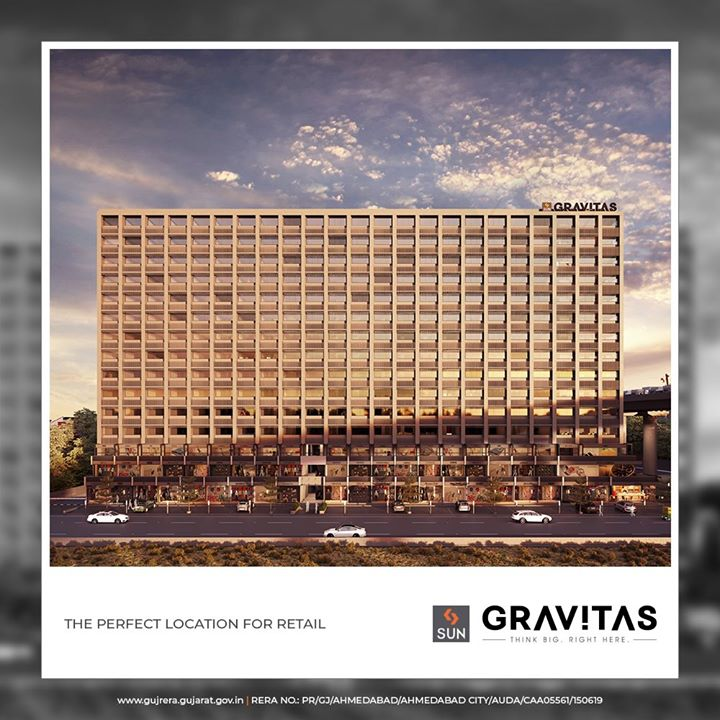 A towering presence with 2 side-road and an internal passage on 2 floors makes it apt for small to medium retail especially B2B, along with B2C thriving well.  #SunGravitas #SunBuildersGroup #Ahmedabad #Gujarat #RealEstate