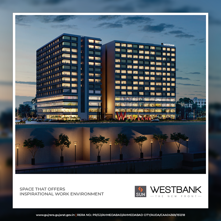 Sun Westbank is purposefully located at a prime junction. This new business hub with Ashram Road to its one side and The Riverfront on the other is an absolute visual treat.  #SunWestBank #SunBuildersGroup #Ahmedabad #Gujarat #RealEstate #SunBuilders