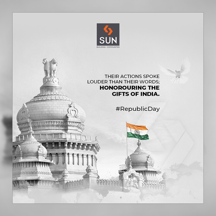 Their actions spoke louder than their words; honorouring the gifts of India.  #HappyRepublicDay #RepublicDay #26thJanuary #IndianRepublicDay #ProudToBeIndian #SunBuildersGroup #Ahmedabad #Gujarat #RealEstate