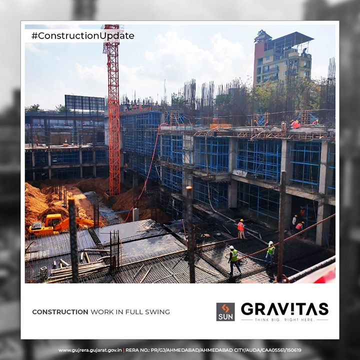 Construction work in full swing.  #ConstructionUpdate #SunGravitas #OfficeSpaces #Tetails #SunBuildersGroup #Ahmedabad #Gujarat #RealEstate