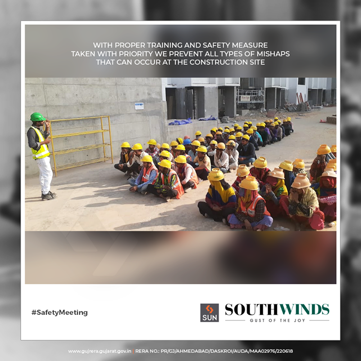 With proper training and safety measures taken with priority we prevent all types of mishaps that can occur at the construction site.  #Safety #SunBuildersGroup #RealEstate #SunBuilders #Ahmedabad #Gujarat