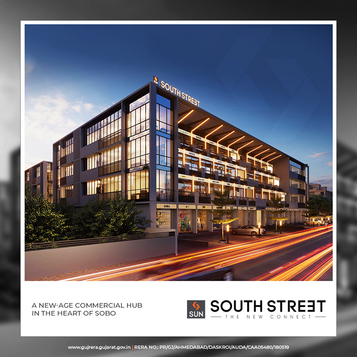 A modern-age commercial hub in the heart of SOBO! It is brilliantly designed and has smartly conceived amenities that reap profits in the future  #SunSouthStreet #SunBuildersGroup #Ahmedabad #Gujarat