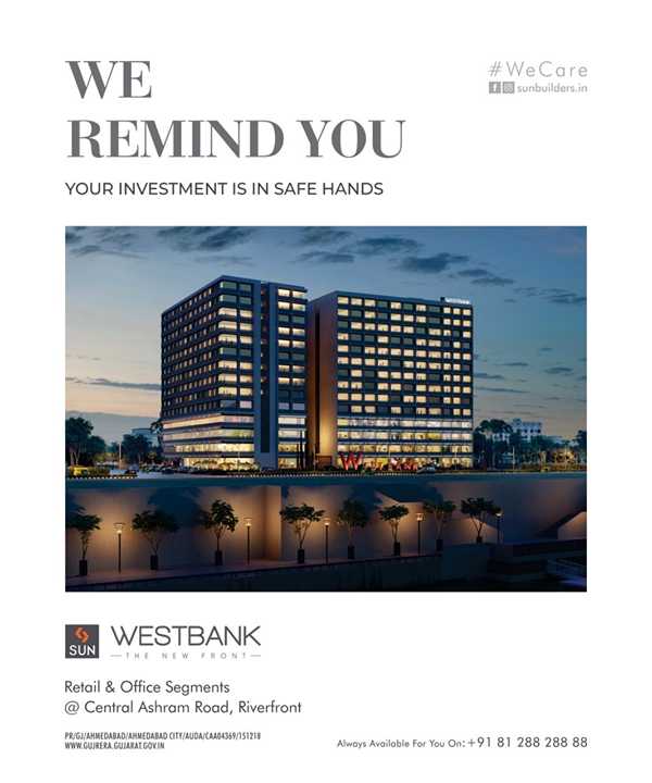 Nearly 4 decades of trust, quality ethical practice and commitment is what you get with us.   Sun Westbank, a Commercial Commune Centrally located at Ashram Road with Spectacular Riverfront and City Views. Call +91 9978932057  #safeinvestment #qualityconstruction #ethics #realestateahmedabad #sunbuildersgroup #staysafe #sunwestbank #ahmedabad #gujarat #realestate #Wecare