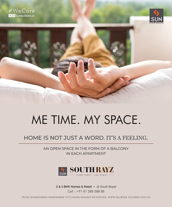 Nearly 4 decades of trust, quality construction, ethical practice and commitment is what you get with Us.   Sun SouthRayz, A Rightly priced smartly designed 2 & 3 BHK homes with balcony space ensuring quality time and a fulfilling life.  For Details Call +91 987932060.   #retail #apartments #southbopal #budgethomes #2bhk #3bhk #safeinvestment #qualityconstruction #ethics #realestateahmedabad #sunbuildersgroup #staysafe #wecare