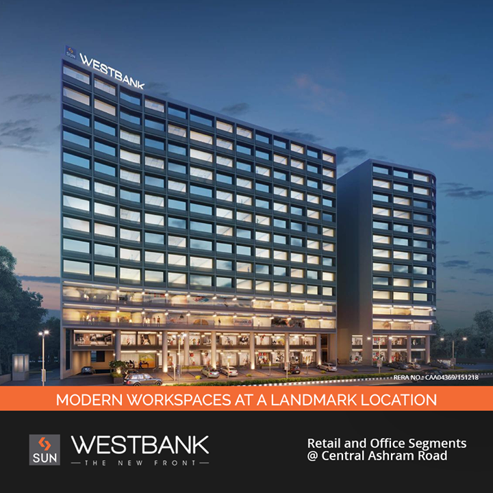 Creative design, smart planning & picturesque view successfully deliver an 'inspirational work environment'. With Retail outlets on the ground, first, second and third storeys and small to medium size Offices on the fourth to thirteenth floor, Sun Westbank is purposefully located at a prime junction. This new business hub with Ashram Road to its one side and The Riverfront on the other is an absolute visual treat.  #SunWestBank #SunBuildersGroup #Ahmedabad #Gujarat #RealEstate #SunBuilders