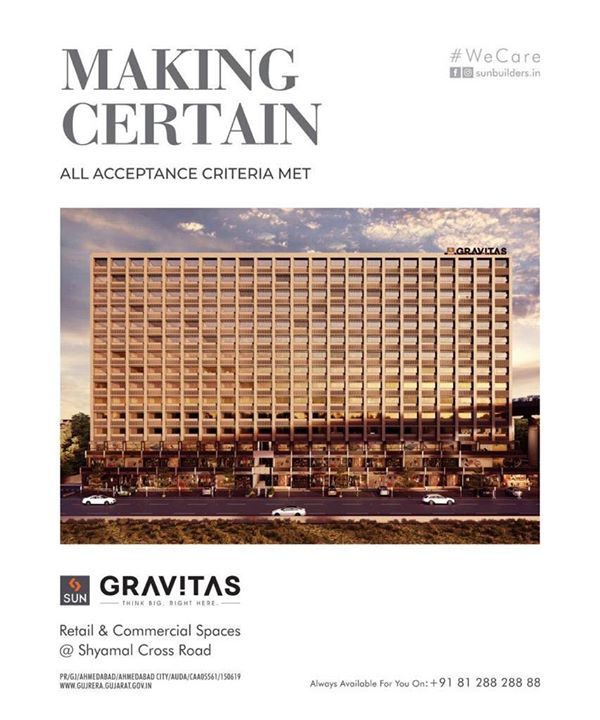 "Nearly 4 decades of trust, quality construction, ethical practice and commitment is what you get with Us.   Sun Gravitas, is a well thought out, well placed, extremely well positioned Project. It offers all the ""Gravitas"" that your commercial venture, service, trade manufacturing or retail really needs.   For Details Call +91 987932059  #retail #showrooms #offices #shyamal #commercial #safeinvestment #qualityconstruction #ethics #realestateahmedabad #sunbuildersgroup #staysafe #wecare"