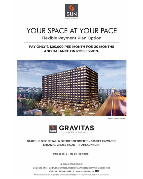 "Have you booked your Dream Office Space yet? If not than this is the time!!!  Sun Builders Group brings to you the best investment opportunity with Your Space At Your Pace at Sun Gravitas Project at Shyamal - Prahladnagar. It offers all the ""Gravitas"" that your commercial venture, service, trade manufacturing or retail really needs.  So what are you waiting for? Book your Start up Size Office Now with a Flexible Payment Plan Option.   Pay just ₹ One Lakh every Month for Twenty Months and Balance on Possession !   For Details Call +91 987932059  #yourspaceatyourpace #sungravitas #shyamalcrossroads #retail #showrooms #offices #shyamal #commercial #safeinvestment #qualityconstruction #ethics #realestateahmedabad #sunbuildersgroup"