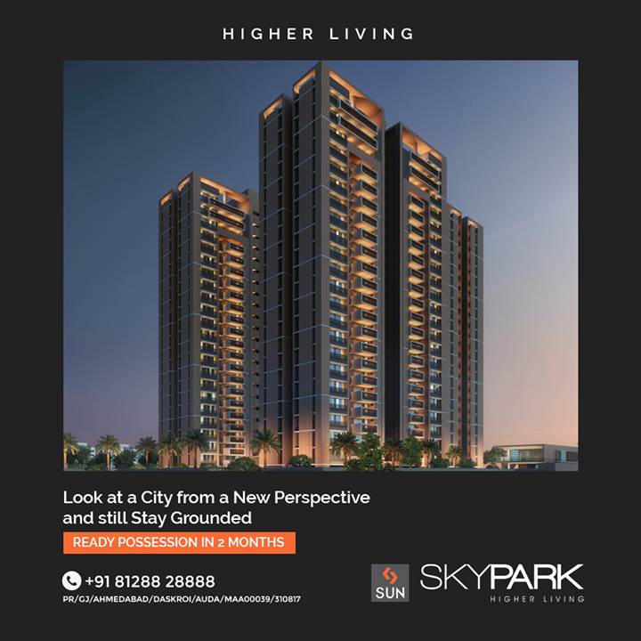 Get Access to Quality Living and an Out of the World Experience in just 2 more Months. A 22 Storey Residential Community located at Bopal-Ambli is built with Integrity and Technicality aiming at making your World a better Place. Enjoy the Luxury of Modern Amenities and Lead an Aesthetic Life with Happiness.  #SunSkyPark #Ahmedabad #SunBuildersGroup #Gujarat #RealEstate #SunBuilders